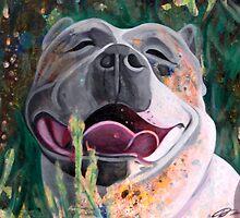 La Joie De Vivre Pit bull Enjoying Life by Nancy Daleo
