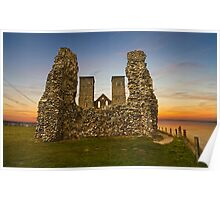 Reculver Towers at dusk Poster