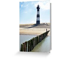 Lighthouse on a beach in Holland Greeting Card