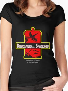 Dinosaurs on a Spaceship Women's Fitted Scoop T-Shirt