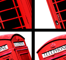 Red British Phone box 4 up Sticker