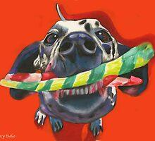 Good Doggie! Dalmatian with a chew toy by Nancy Daleo