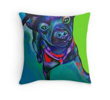 Stay! Dog sitting and staying. Patterdale/Fell Terrier mix pup Throw Pillow
