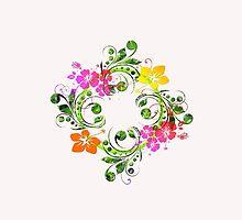 Flower Wreath Garland iPhone iPod Case by wlartdesigns