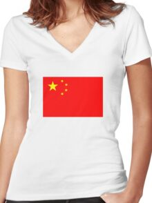 Flag of China Women's Fitted V-Neck T-Shirt