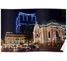 Vietnam. Ho Chi Minh City (Saigon). Opera House at Night. Poster