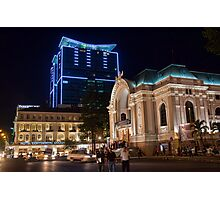 Vietnam. Ho Chi Minh City (Saigon). Opera House at Night. Photographic Print