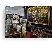 Vietnam. Ho Chi Minh City (Saigon). Silk Embroidery shop at the airport. Canvas Print