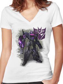 Transformers War For Cybertron - Decepticons: Shockwave Women's Fitted V-Neck T-Shirt