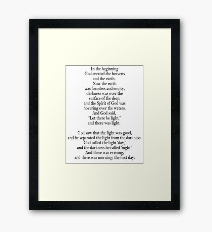 Bible, Genesis 1:1, God, Biblical, Book of Genesis, In the Beginning Framed Print
