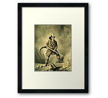 Old Fireman Illustration Framed Print