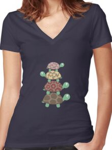 Turtle family Women's Fitted V-Neck T-Shirt