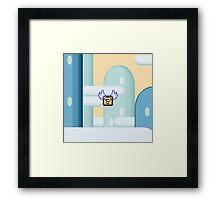 Flying question block Super Mario World Framed Print