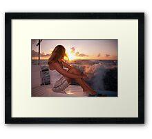 Glowing Sunrise. Greeting New Day  Framed Print