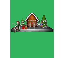 Girl Elf Gingerbread House Holiday  Photographic Print