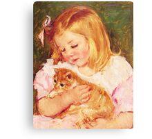 Little Girl Holding Kitten painting Canvas Print