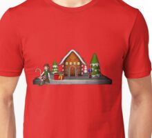 Girl Elf Gingerbread House Holiday  Unisex T-Shirt