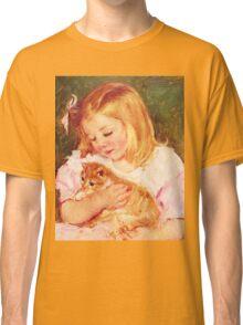 Little Girl Holding Kitten painting Classic T-Shirt