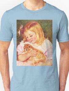 Little Girl Holding Kitten painting Unisex T-Shirt