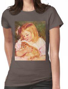 Little Girl Holding Kitten painting Womens Fitted T-Shirt