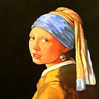 Girl with the pearl earing (after Vermeer) by Guntis Jansons