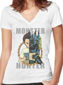 Monster Hunter Life (Azure Variant) Women's Fitted V-Neck T-Shirt