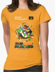 Super Mario World Nintendo Super Famicom Box Art Womens Fitted T-Shirt