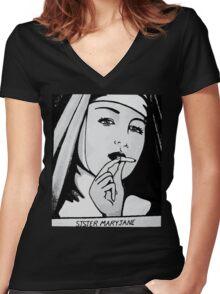 SISTA MARYJANE Women's Fitted V-Neck T-Shirt