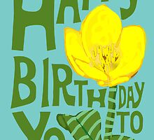 Buttercup Letterpress Fonts Happy Birthday Card by Amy Hadden