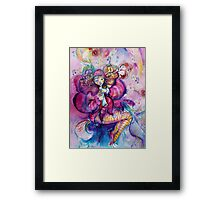 PINK MUSICAL CLOWN WITH OWL Framed Print