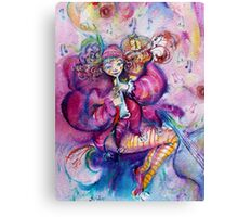 PINK MUSICAL CLOWN WITH OWL Canvas Print