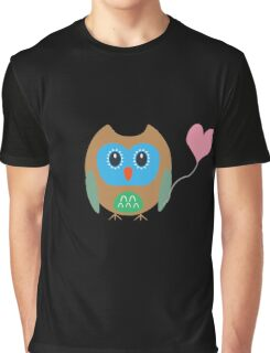 Cute owl with heartballoon Graphic T-Shirt