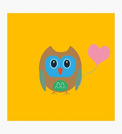 Cute owl with heartballoon Photographic Print