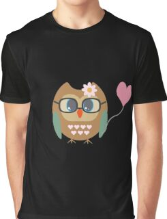 Owl with heart balloon Graphic T-Shirt