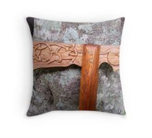 Carved Axe Walking Stick Throw Pillow