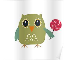Coloured owl with a lollipop Poster