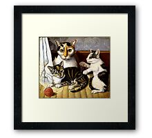 Naive Cat Painting Framed Print