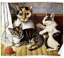 Naive Cat Painting Poster
