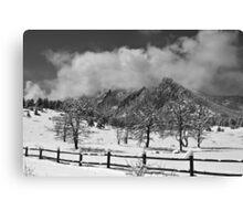Snowy Flatirons Boulder Colorado Landscape View BW Canvas Print