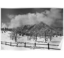 Snowy Flatirons Boulder Colorado Landscape View BW Poster