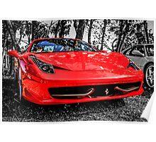 Red Ferrari 458 Italian Sports Car Poster