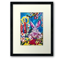 PINK  RABBIT WITH CHRISTMAS CANDLES AND HOLLYBERRIES Framed Print