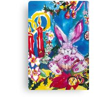PINK  RABBIT WITH CHRISTMAS CANDLES AND HOLLYBERRIES Canvas Print