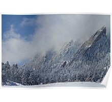 Dusted Flatirons Low Clouds Boulder Colorado Poster