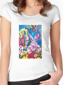 PINK  RABBIT WITH CHRISTMAS CANDLES AND HOLLYBERRIES Women's Fitted Scoop T-Shirt