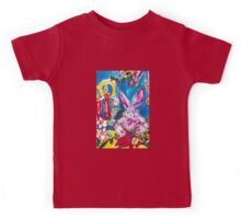 PINK  RABBIT WITH CHRISTMAS CANDLES AND HOLLYBERRIES Kids Tee