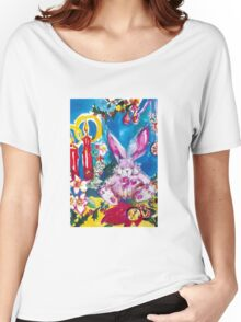PINK  RABBIT WITH CHRISTMAS CANDLES AND HOLLYBERRIES Women's Relaxed Fit T-Shirt