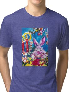 PINK  RABBIT WITH CHRISTMAS CANDLES AND HOLLYBERRIES Tri-blend T-Shirt