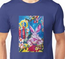 PINK  RABBIT WITH CHRISTMAS CANDLES AND HOLLYBERRIES Unisex T-Shirt