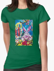 PINK  RABBIT WITH CHRISTMAS CANDLES AND HOLLYBERRIES Womens Fitted T-Shirt